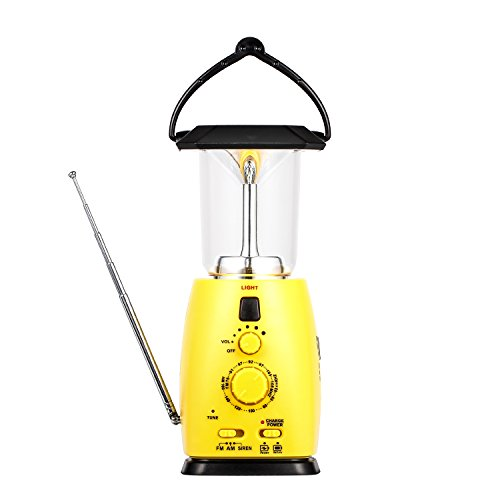 Camping Lantern Solar Rechargeable, Solar and Hand Crank Dynamo Multi-functional 4-way Powered AM/FM Radio 8 LED Flashlight with Emergency Cell Phone Charger, Support AA Battery for Hike Climbing
