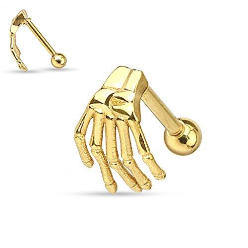 Piercing para oreja o ceja de Gekko Body Jewellery, con mano esquelética dorada, acero quirúrgico, 1,2 x 6 mm