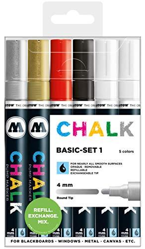 Molotow Kreidemarker Chalk (Basic-Set 1, Strichstärke 4 mm, nachfüllbar) 6er Etui sortiert