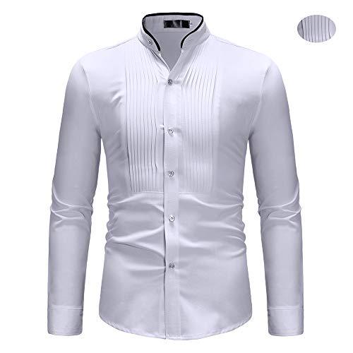X&Armanis Vintage Hemden für Herren, Polyester Kontrast Stehkragen Shirt Langarmhemd mit plissierter Vorderseite,M