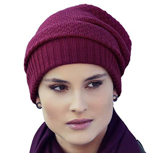 Viva Headwear Gorro de Invierno Azul o Granate con Punto acrílico Mille (Granate)
