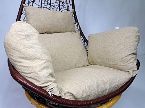 Rattani - Polster, Kissen, Auflage für Rattan Hängeschaukel Schaukelstuhl Rattanschaukel Gr. Sitzfläche 60 x 50 cm Loneta beige