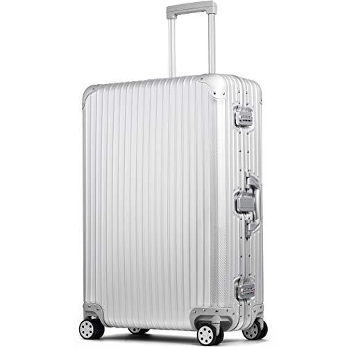 スーツケース アルミマグネシウム合金 アルミニウムボディ 大型 受託手荷物 lサイズ 大容量 キャリーバッグ キャリーケース 8輪 ストッパー (【Lサイズ】シルバー/カーボン)