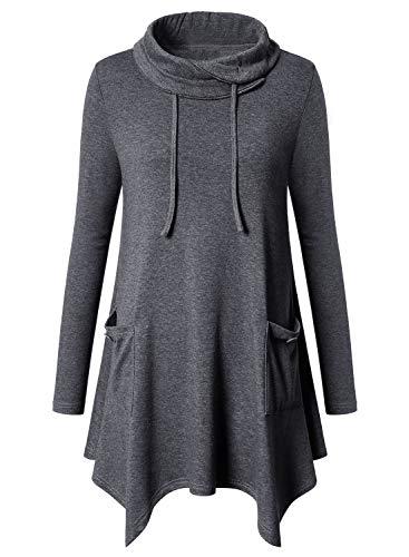 Amrto Damen Bluse Turtleneck Asymmetrische Saum Langarm Tops Lange Hemd Pullover Tunika mit Taschen, Dunkelgrau XXL