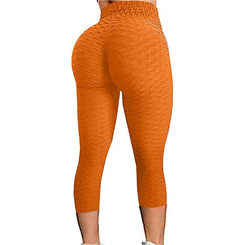 GANBADIE - Leggings para mujer, con estampado floral naranja S