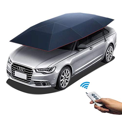 Reliancer Car Tent with Remote Automatic Hot Summer Car Umbrella Cover Portable Movable Carport Folded Automobile Protection Sun Shade Anti-UV Canopy Sun-proof Shelters SUV(Automatic Blue)