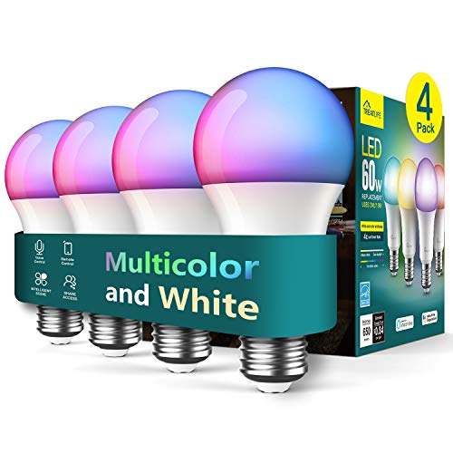 Treatlife Smart Bulb 4 Pack, Color Changing Light Bulb, Works with Alexa and Google Assistant, LED Light Bulbs for Party Decoration, Home Lighting, Decorative Illumination, No Hub Required