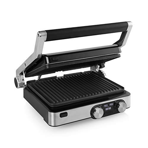 Princess 117310 Digital Grill Master Pro - Parrilla de mesa, 2 termostatos ajustables, panel de control digital, 2000 W, plateado y negro