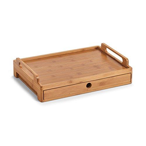 Zeller 25379 Tablett m. Schublade, Bamboo, ca. 43 x 31 x 10 cm