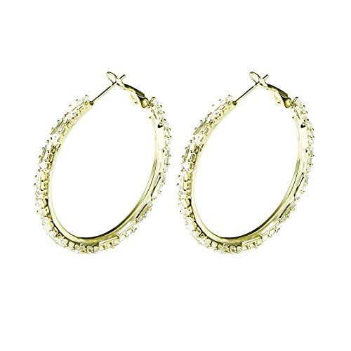 Yumay 9ct Gold Filled Hoop Creole Earrings with Cubic Zirconia for Women(50MM).