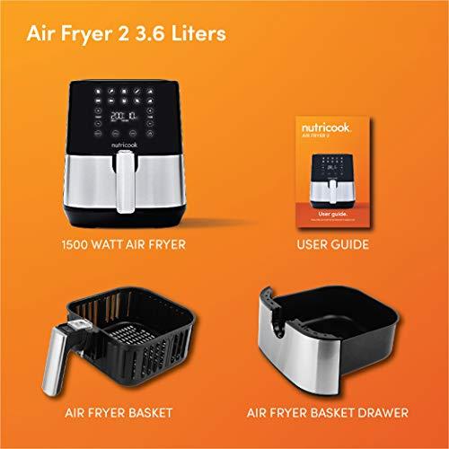 NUTRICOOK by Nutribullet Air Fryer 2, 1500 Watts, Digital Control Panel Display, 10 Preset Programs with built-in Preheat function, 3.6 Liters, Brush Stainless Steel, 2 Years Warranty, AF204