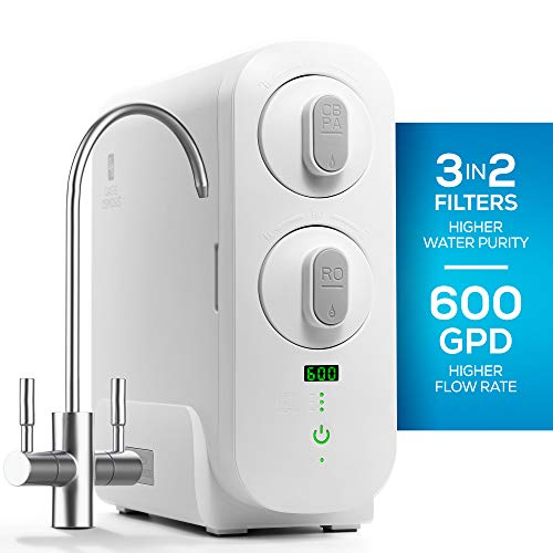 RO Reverse Osmosis Water Filtration System, Countertop or Under Sink Tankless Purifier, 1.5:1 Drain Ratio, 600 GPD, TDS Reduction, Faucet Included