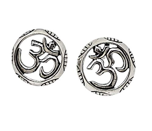 TreasureBay Yoga Symbol Stud Earrings with Engraved Edging Made with 925 Sterling Silver with Post and Butterfly