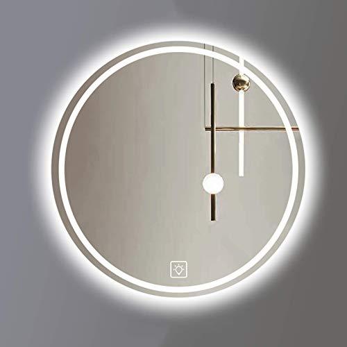 L&ED Espejo de tocador de baño con retroiluminación LED, Espejo de baño Iluminado, Redondo, sin Marco, luz Blanca 6000k / luz cálida 3000k
