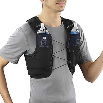 Salomon Hydra Vest 4 Set Gilet d'hydratation 2 x Soft Flasks Incluses Pour Trail Running Randonnée, Mixte Adulte, Noir, M