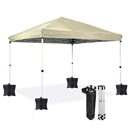 Dawsons Living Waterproof Premium One Touch Garden Gazebo - Choice of Colours - 3m x 3m Pop Up Outdoor Garden Shelter - PVC Coated - Travel Bag and 4 Leg Weight Bags (Beige)