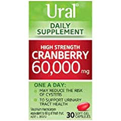 Ural High Strength Cranberry gel capsules – conveniently small, soft and easy to swallow – are designed to pack a big punch delivering a daily dose of 60,000 mg of Active Cranberry Extracts (ACE) – that's equivalent to 60 g of fresh cranberries! Cran...