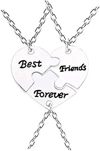 ZGYFJCH Co.,ltd Collar 3 Piezas/Set Best Friends Forever Peach Borken Collar de corazón Color Plateado BFF Jewelry in Remember