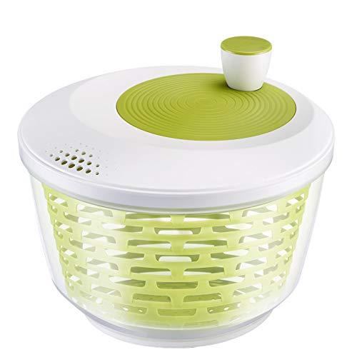Westmark Salatschleuder, Fassungsvermögen: 4,4 Liter, ø 23,5 cm, Kunststoff, BPA-frei, Spinderella, Farbe: Transparent/Weiß/Grün, 2430226A