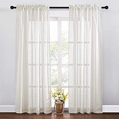RYB HOME Living Room Linen Curtains Semi Sheer Home Decorative Curtains Vintage Privacy Light Filtering Window Treatments Draperies for Bedroom, Ivory, 52 x 84 inches Length, 2 Panels
