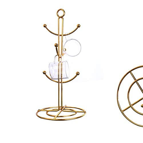 RomanticDesign 6 Holder, Countertop Mug Tree, 6 Hook Coffee Cup Dryer Kitchen Coffee Mug Tree Countertop Tea Cups Holder Stand,Gold