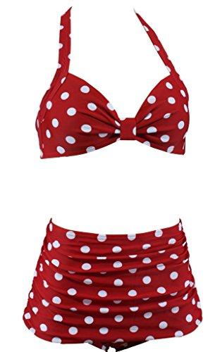 Aloha-Beachwear Damen Bikini A1062 Rot/Weiss Gr. 38