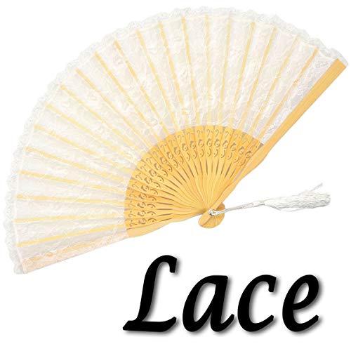 OMyTea Ventaglio a mano pieghevole in pizzo per donna - Ventaglio in pizzo di bambù portatile spagnolo giapponese cinese - per matrimoni, decorazioni, spettacoli, balli, chiesa, feste, regali (bianco)