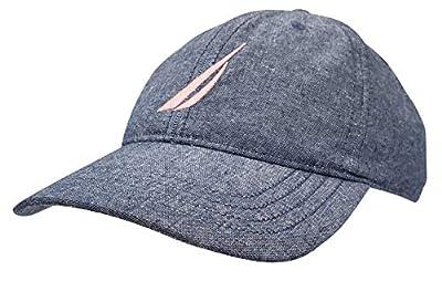 Nautica Mens Classic Logo Adjustable Baseball Cap Hat, Chambray (Pink Logo), One Size