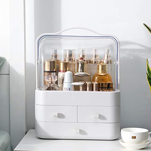 LZDMY Make Up Organizer Acryl | Aufbewahrungsbox mit 180° drehbar Deckel, 4 Schubladen, Tragegriff | Beauty Schmink Kosmetik Box für deko Schlafzimmer, Badzimmer | Staubdicht und Wasserdicht (Weiß)