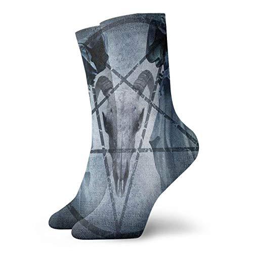 Calcetines suaves de longitud media de pantorrilla, ilustraciones con pentagrama, crneo de cabra, diablo, con capucha, imagen exorcista, calcetines para hombres y mujeres