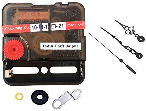 India Craft Jaipur Ajanta Mfg. Quartz Sweep & Silent Movement Machine for Wall Clock (Needle -Black1)
