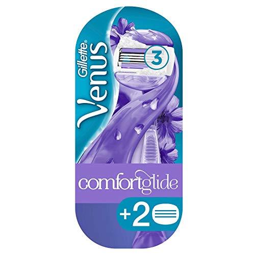 Gillette Venus ComfortGlide Breeze Rasierer Damen mit Rasiergelkissen für Hautschutz, Damenrasierer + 2 Rasierklingen
