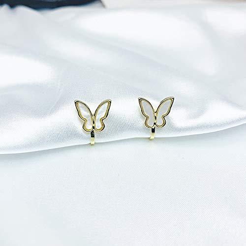 MMYZZAU Pendientes de alas de Mariposa, Tachuelas de Mariposas de Perlas de Concha, Agujas de Plata...