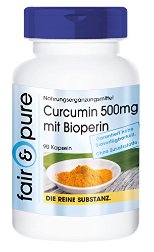 Curcumin 500mg mit Bioperine - 475mg Curcuminoide pro Kapsel - ohne Magnesiumstearat - vegan - 90 Curcumin-Kapseln