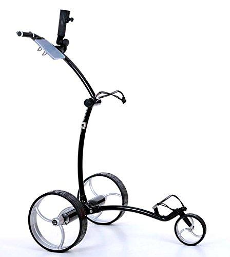 tour made RT-630LI Quickfold Lithium Elektro Golftrolley mit Motorbremse Rahmen schwarz Räder Silber