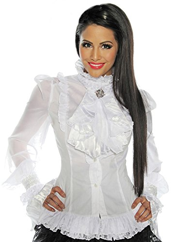 Traumhafte Long-Bluse Jacke weiß Burlesque & Vintage Gothik Gr 36-42, Größe:2XL