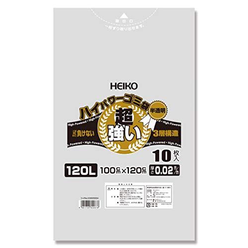 シモジマ (ヘイコー) ゴミ袋 半透明 ハイパワー 3層 #02 120L 10枚 006605004