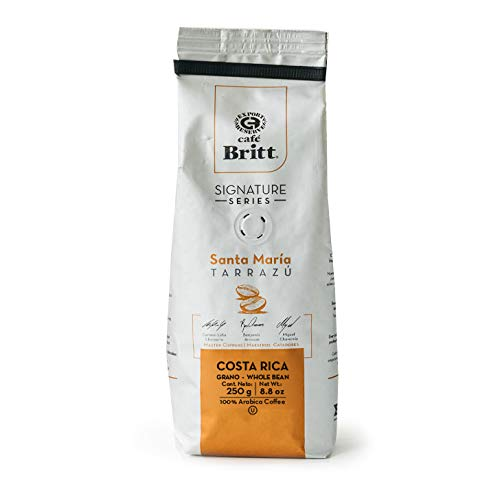 Café Britt® - Costa Rican Tarrazu Santa Maria (250 G.) (1-Pack) Whole Bean Arabica Coffee, Kosher, Gluten Free, Gourmet & Medium Light & Dark Roast