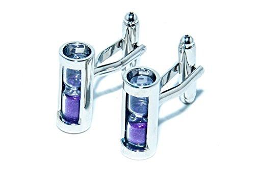 Jeff Jeffers Customs Violet Travail Sand Timer Mens Mariage Silver Boutons DE Manchette Cuff Links, avec Sac Cadeau