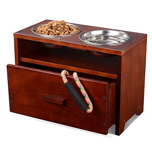 Erhöhte Hundenapf Hundebar Futterbar Holz Hund fütterungsstation mit Aufbewahrung sschublade für mittlere und große Hunde mit 2 rostfreien Schalen und wasserdichtem Pad (muss zusammengebaut Werden)