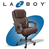 La-Z-Boy Delano Big & Tall Executive Office Chair | High Back Ergonomic Lumbar Support, Bonded Leather, Brown with Weathered Gray Wood | CHR10045C