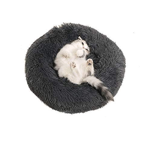 Famgizmo - Cama redonda para perro, gato, cojín de gato, cesta de donut de peluche muy suave, cómoda y bonita, para gatos, cachorros, gatos, pequeños animales – 60 cm(24'), gris acero