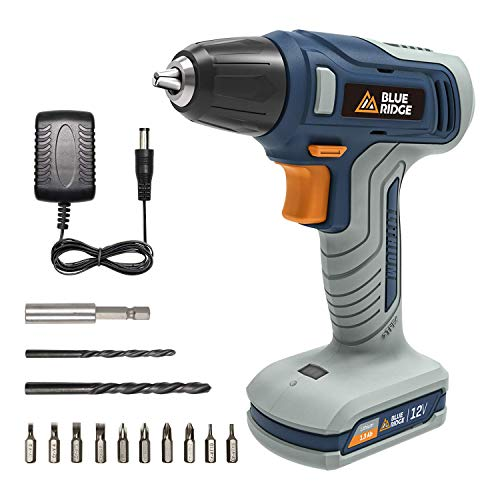 BLUE RIDGE Cordless Drill Driver 12V, Electric Screwdriver with Charger, 13pcs Accessory Kit, Variable Speed Control, LED Battery Indicator, 10mm keyless Chuck for Home Improvement & DIY