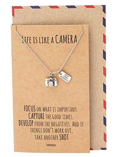Quan Jewelry Cute Vintage Camera Miniature Jewelry for Women, Photography Gifts, Gifts for Best Friends, Teens, Kids, Selfie Lovers, Photographers, Comes with Inspirational Quote (Necklace)