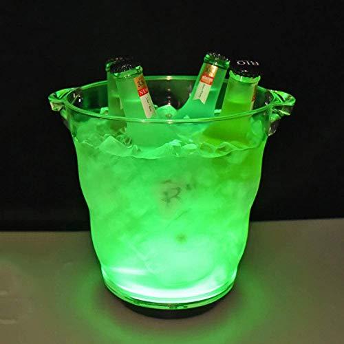 Cubo De Hielo LED con Cambio De Color, Refrigerador De Botellas De 5L Mayor Champán Refrigerador De Vino Enfriador De Bebidas para Fiesta, Casa, Bar,