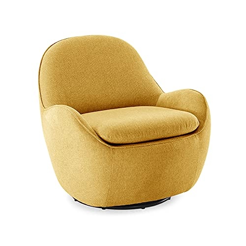 Meubletmoi - Poltrona Cocon girevole a 360°, in tessuto giallo, confortevole, stile scandinavo, 71 x 75 x 76 cm, Tami
