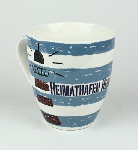 Maritimer Becher Heimathafen Leuchtturm gestreift Tasse Kaffee Becher Andenken weiß blau