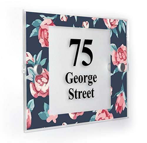 Roses Motif Rose Plaque Numéro de Maison personnalisée Home Panneau résistant aux intempéries des Impression de Pointe