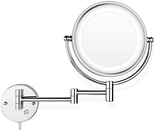 GAOFQ Espejo de Maquillaje Iluminado de Pared con Aumento con Luces Regulables, Espejo de baño de 10 aumentos, Espejo de Afeitar con Luces y Aumento, Pantalla táctil, Enchufe del Reino Unido