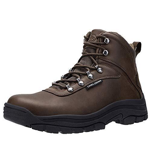 CAMEL CROWN Botas de Senderismo para Hombre Cordones Botas de Montaña Zapatos de Deporte para Trabajar Trekking Caminar, Negro Marrón 40-46